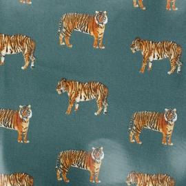 Tissu coton enduit brillant Tigre - vert foncé x 10cm