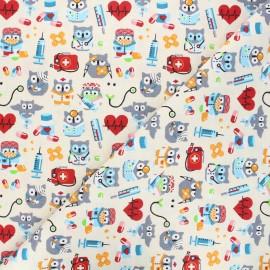 Tissu coton cretonne Hiboux docteurs - ivoire  x 10cm