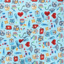 Cretonne cotton fabric - blue Hiboux docteurs x 10cm