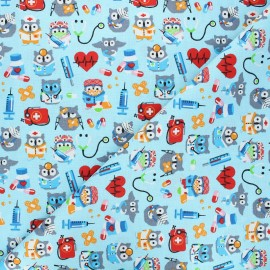 Tissu coton cretonne Hiboux docteurs - bleu x 10cm