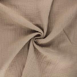 Tissu double gaze de coton MPM - taupe x 10cm