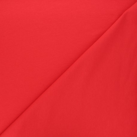 Tissu jogging jersey léger rouge x 10cm