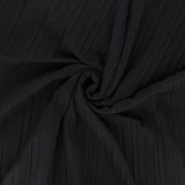Pleated polyviscose jersey fabric - dark brown x 10 cm