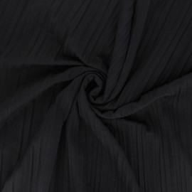 Tissu jersey polyviscose plissé - marron foncé x 10 cm