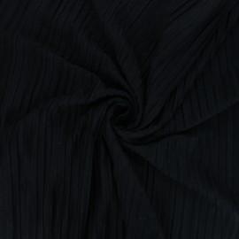 Tissu jersey polyviscose plissé - noir x 10 cm