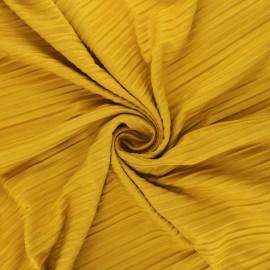 Tissu jersey polyviscose plissé - jaune moutarde x 10 cm