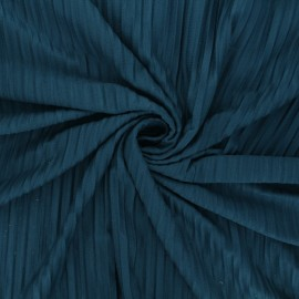 Pleated polyviscose jersey fabric - peacock blue x 10 cm
