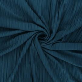 Tissu jersey polyviscose plissé - bleu paon x 10 cm