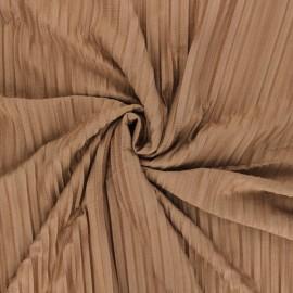 Tissu jersey polyviscose plissé - noisette x 10 cm