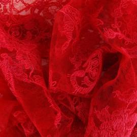 ♥ Coupon 70 cm X 130 cm ♥ Tissu Dentelle Annabelle rouge carmin