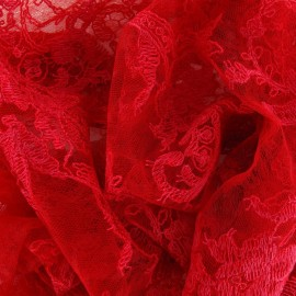Annabelle Lace Fabric - Carmine red x 10cm