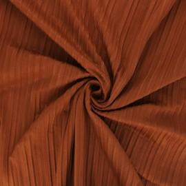 Tissu jersey polyviscose plissé - cannelle x 10 cm