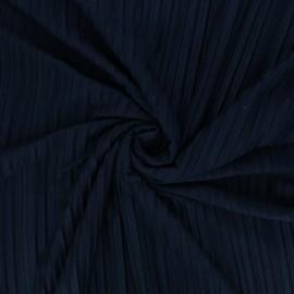 Tissu jersey polyviscose plissé - bleu marine x 10 cm