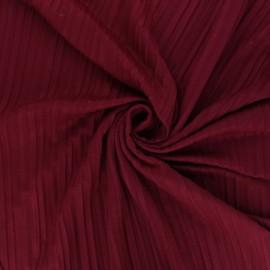 Tissu jersey polyviscose plissé - bordeaux x 10 cm