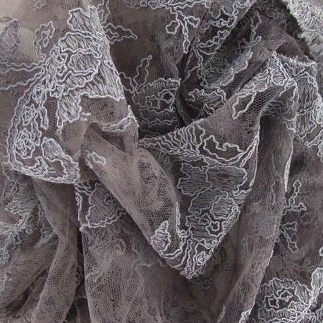 Tissu Dentelle Annabelle gris de lin x 10cm
