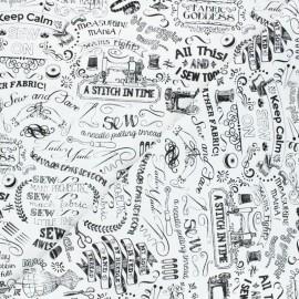 Tissu coton Timeless Treasures  - Sewing words - blanc x 10cm