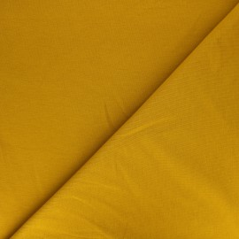 Tissu sweat léger Uni - jaune moutarde x 10cm