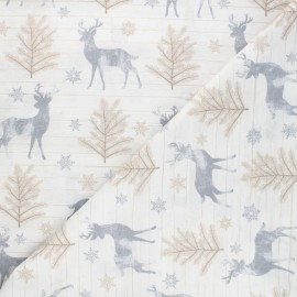 Timeless Treasures cotton fabric - white Rustic reindeer x 10cm