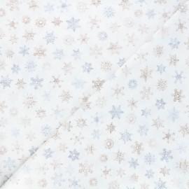Tissu coton Timeless Treasures - Rustic snowflakes - blanc x 10cm