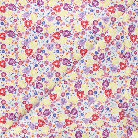 Cotton fabric - white Eternally yours Paisley hearts x 10cm