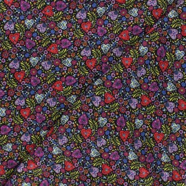 Cotton fabric - black Eternally yours Paisley hearts x 10cm