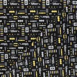 Cotton fabric - black Justice league Batman icons x 10cm