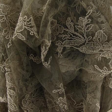Tissu Dentelle Annabelle vert de gris x 10cm