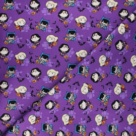 Cotton fabric - purple Halloween Girl power Kawaii x 10cm