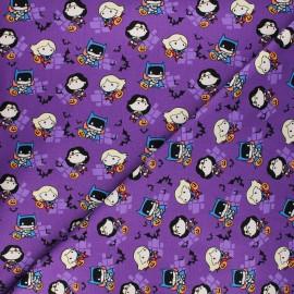 Tissu coton Halloween Girl power Kawaii - violet x 10 cm