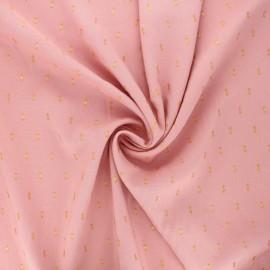 Tissu viscose plumetis lurex Léa - rose x 10cm
