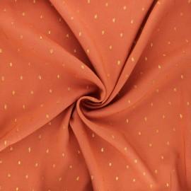 Lurex plumetis Viscose fabric - ginger red x 10cm