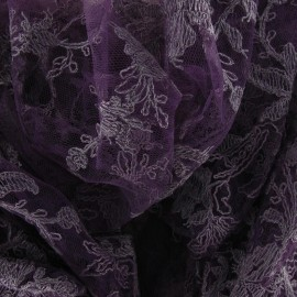 Annabelle Lace Fabric - Dark Purple x 10cm