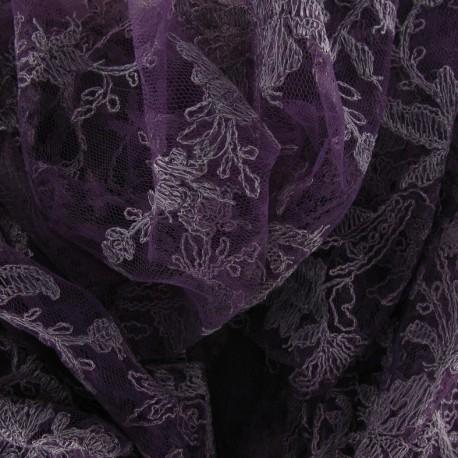 Annabelle Lace Fabric - Dark Purple x 10cm
