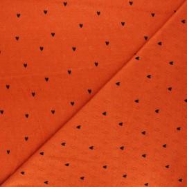 Tissu jersey maille ajourée Poppy Hearts - orange x 10cm