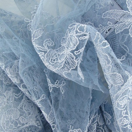 Annabelle Lace Fabric - Sky x 10cm