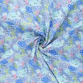 Batiste Cotton fabric - blue Arôme fleuri x 10cm