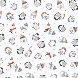 Tissu coton Paradis des pingouins Cozy penguin - blanc x 10 cm