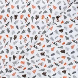 Cotton fabric - white Paradis des pingouins Nordic tree x 10cm
