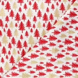Tissu coton cretonne Christmas pines - écru x 10cm