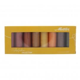 Set of 8 Mettler Silk finish thread reels - Autumn collection