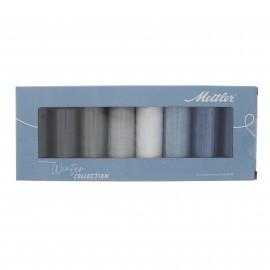 Set of 8 Mettler Silk finish thread reels - Winter collection