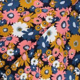 Tissu sweat Poppy Flowers - bleu marine x 10cm