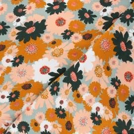 Tissu sweat Poppy Flowers - vert sauge x 10cm