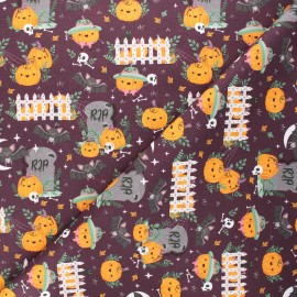 Tissu coton cretonne Pumpkin family - aubergine x 10cm
