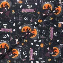Tissu coton cretonne Nighty halloween - noir x 10cm