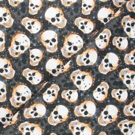 Tissu coton cretonne Graphy skull - noir x 10cm