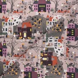 Cretonne cotton fabric - taupe Monsters village x 10cm