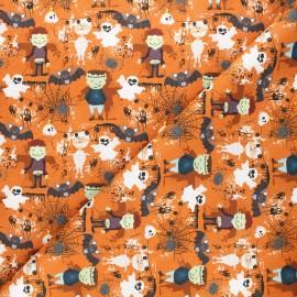 Tissu coton cretonne Frankenstein's friends - orange x 10cm