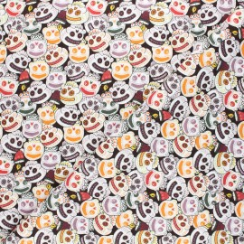 Tissu coton cretonne Funny skully - noir x 10cm