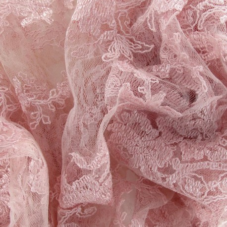 Annabelle Lace Fabric - Pink x 10cm